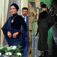 Isn't this just fabulous! Sheikha Mozah is full of ideas when it comes to buy clothes. She always finds the least expected piece and wear it like no one else can. This one is the example, black ensemble from Jean Paul Gaultier Fall 2007 couture collection is heaven on her. It is sharp, edgy and chic. I am in love with this.