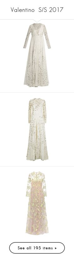 """""""Valentino  S/S 2017"""" by mariots22 ❤ liked on Polyvore featuring dresses, gowns, valentino, long dresses, ivory multi, long sleeve dress, white gown, ivory evening gown, long sheer dress and valentino gowns"""