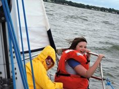 """GREAT RIDE - Kaylah Baker hung on in seas in the York River, """"This is awesome, what a great ride! Sailboat Charter, Williamsburg Virginia, Seas, Sailing, Cruise, River, York, Awesome, Candle"""