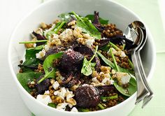 Beetroot, Lentil & Spinach Salad with Feta