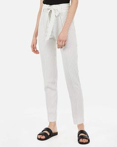 f5bc43c60370 Express High Waisted Pinstripe Sash Tie Waist Ankle Pant