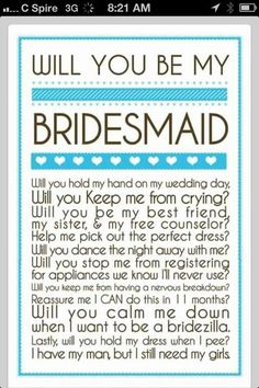 Being a BM has duties. You aren't asked just so you can stand up there with your friend, smile and look pretty. The Bride needs HELP and too often I've seen where she gets everything but! A MOH has even more responsibility. If you accept those positions and aren't sure what you should do theknot.com weddingwire.com and other bridal websites are out there to guide you. Even people like me who could have starred in my own version of 27 Dresses can offer help but doing nothing except standing…