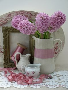 pink and white pitcher