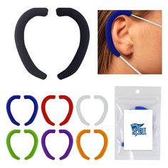 Relieve ear tension and make mask wearing more comfortable with these Mask Ear Loop Protectors in Pouch with a label that you can customize for your school.