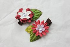 Pink and White Flowers Hair Clip  Set of 2 by BabyGeneration, $3.50
