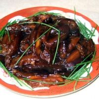 Chinese eggplant recipe. Removed the cornstarch (what's it for anyway?) and it was yummy and healthy!