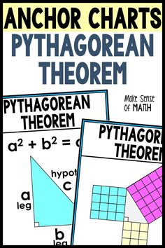 Check out these Pythagorean Theorem anchor chart middle school math classroom decor. These include Pythagorean Theorem proofs and examples to accomapny your Pythagorean Theorem unit. These are perfect for your Geometry and 8th grade math classrooms. Click the image to check them out. #makesenseofmath Geometry Activities, Fun Math Activities, Math Resources, 8th Grade Math, Eighth Grade, Math Lesson Plans, Math Lessons, Algebra Games, Math Classroom Decorations