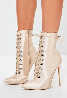 e45ea979d804 Missguided - Peace Love Nude Lace Up Stiletto Boots Stiletto Boots