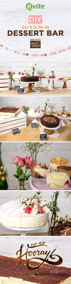 Get cool ideas for creating a bridal shower dessert table that's personalised to your bride-to-be. #BeThere #OliveGarden #ad