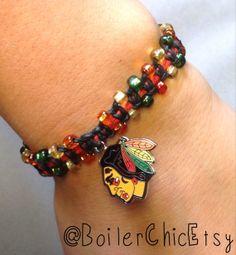 Chicago Blackhawks Macramé Bracelet by BoilerChic on Etsy, $15.00