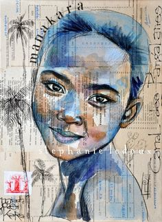 Manakara - Madagascar Tableau dérivé de mon carnet de voyage à Madagascar. Aquarelle et sanguine noire sur collage.