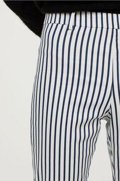 Pantaloni-țigaretă - Alb/cu dungi - | H&M RO 2