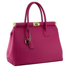 Minerva Made in Italy Leather Fuchsia Pink Structured Top Handle Bag