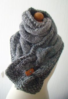 Scarf Chunky Cowl Grey Shades    This chunky scarf/cowl with a huge cable will add a unique look to any of your outfit. You can wear it any season even