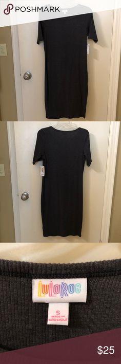 Lularoe Julia Charcoal Dress (S) NWT Lularoe Julia Dress. Size Small.  Heather charcoal color in a ribbed fabric. NWT.  Only tried on once. LuLaRoe Dresses