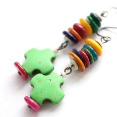 Green Checker Earrings // Rainbow Earrings // Funky Dangle Earrings