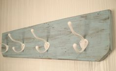 Wooden wall hanger - shabby blue and white