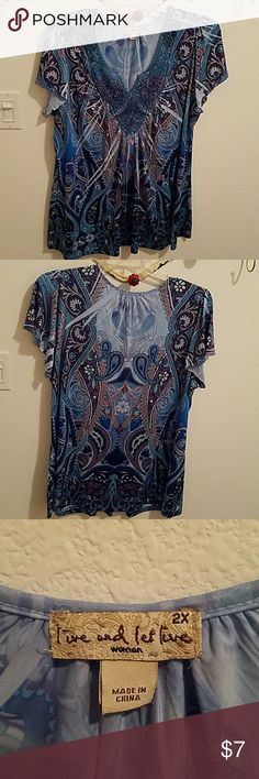 Short sleeve blouse Comfortable flowing teal blouse live and let live Tops Blouses