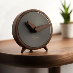 Features: Material: solid walnut Timeless design Natural American walnut wood from controlled tree felling Wood is treated using handcrafted processe Wall Clock Wooden, Led Wall Clock, Diy Clock, Wood Clocks, Beton Design, Wood Design, Beton Diy, Wall Clock Design, Wooden Watch