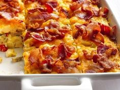 Bacon and Hash Brown Egg Bake - mix up breakfast favorites of bacon and hash browns in a make-ahead egg bake