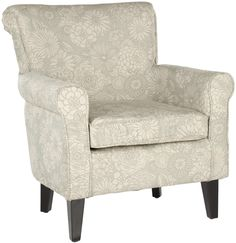 Features:  -Material: Birch.  -Upholstered in a lush cotton polyester blend.  -Color: Cream, Blue/Grey.  Frame Finish: -Dark brown.  Upholstered: -Yes.  Frame Material: -Wood.  Upholstery Color: -Crea
