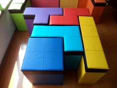 Keep your children's pigsty of a playroom tidy using these fun Tetris shaped storage benches. Each bench in.