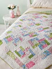 """Danish Delights Quilt Pattern from AnniesCatalog.com -- This easy, beginner pattern can be made using 40, 10"""" squares or assorted fat quarters (20 for the Throw and 12 for the Crib size)."""