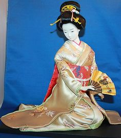 Beautiful Large Asian Japanese Geisha Doll with Fan in Kimono Sitting on Stand