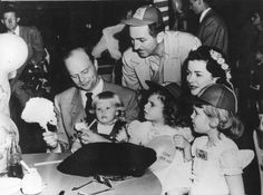 Stars With Children: Celebrities young and old gathered at a birthday party for Mickey Mouse at the Disney Studio. Left to right - Edgar Bergen, Candice Bergen, Walt Disney, Stephanie Wagner, Joan Bennett Wagner and Cheryl Crane. (Photo by Keystone/Getty Images)