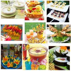 I like the ideas of skewers for appies and pineapple dishes for salad