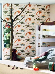 Dinosaur wallpaper - children's wallpaper - Bonne nuit blog