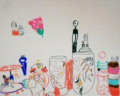 """ANSAMMLUNG VON WELT"", 2012 Filzstift auf Leinwand, 40 x 50 cm Snoopy, Fictional Characters, Collection, Canvas, World"