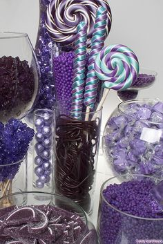 Purple Candy Buffet by candywarehouse ❀❀❀  ADD #diy http://www.customweddingprintables.com/#!store/cwvn #wedding #ideas #printables #candy #buffet #photo #booth #signage