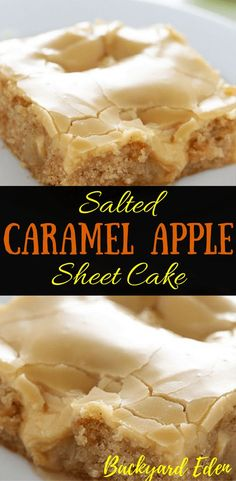Salted Caramel Apple Sheet Cake Recipe - Backyard Eden - - Who doesn't like caramel? What about apples with caramel? This combines the best of both! Learn how to make salted caramel apple sheet cake! Apple Sheet Cake Recipe, Sheet Cake Recipes, Sheet Cakes, Apple Kuchen Recipe, Brownie Desserts, Easy Desserts, Delicious Desserts, Sweet Desserts, Cake Mix Cookies