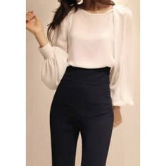 Wholesale Charming Sexy Scoop Neck Off-The-Shoulder Design Long SLeeves Imitated Pearl Chiffon Shirt For Women (WHITE,ONE SIZE), Blouses - Rosewholesale.com