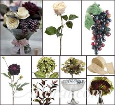Winery Wedding Centerpiece, Winery Wedding Theme,Vineyard Wedding Theme, Grape Centerpiece,Afloral.com~ Amy Lynn's Inspiration Board http://www.afloral.com/Silk-Flowers-Artificial-Flowers-Fake-Flowers?search=grape