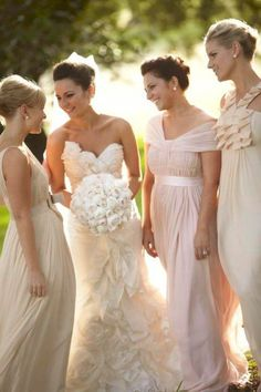Neutral mismatched bridesmaid dresses