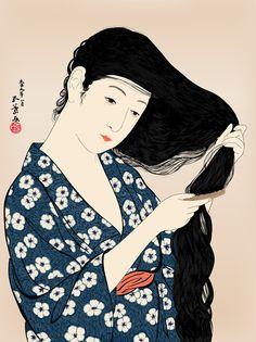 Japanese Art: Woman Combing Her Hair. Hashiguchi Goyo. 1920