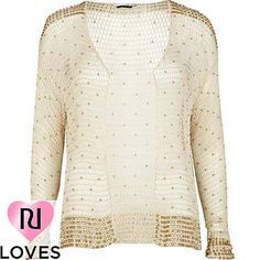 beige crochet beaded cardigan - cardigans - jumpers / cardigans - women - River Island