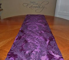 Damask Eggplant Deep Purple Table Runner by DESIGNERSHINDIGS, $15.00