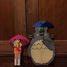 Totoro perler beads by hekusai - Pixel Beads, Fuse Beads, Hama Beads Patterns, Beading Patterns, Perler Bead Art, Perler Beads, Totoro, Studio Ghibli, Anime Pixel Art