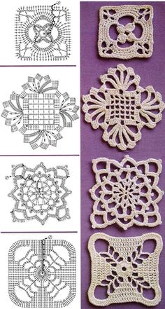 lots of granny blocks with patterns  ✿Teresa Restegui http://www.pinterest.com/teretegui/✿