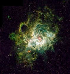 NGC 604 is a giant H II region in the Triangulum Galaxy. One of the largest star-forming regions in the Local Group of galaxies, it is about 1,500 light years across - 50 times larger than the Orion Nebula. Credit: H. Yang, J. Hester, NASA