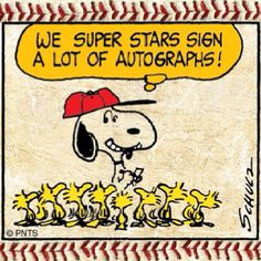 Here is the famous world series player signing autographs for all his fans.