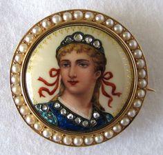 Fine Art Nouveau Swiss Enamel Diamond Pearl High Karat Gold Pin | eBay