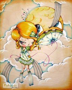 Little Rag Doll is a Tailor to the Moon Balloon-Pinkytoast Art print-8x10. $14.00, via Etsy.