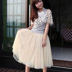rose / blanc / noir / vert / beige jupe des femmes, vintage / MIDI mignon…