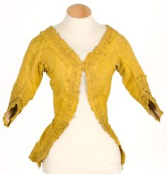 Imatex - another imperial yellow jacket, with sabot cuffs, typical trims and cut for 1770s.