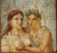 A nymph of Dionysus and a satyr, from the House of Cecilio Giocondo in #Pompeii #fresco #archaeology #Eros