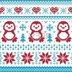 Christmas and Winter knitted pattern, card - scandynavian sweater style photo